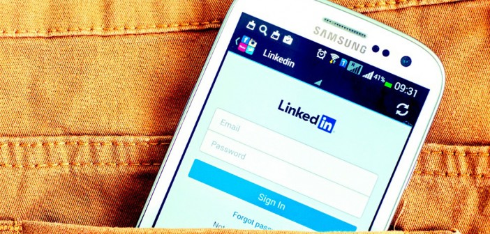 Phone with LinkedIn profile tips