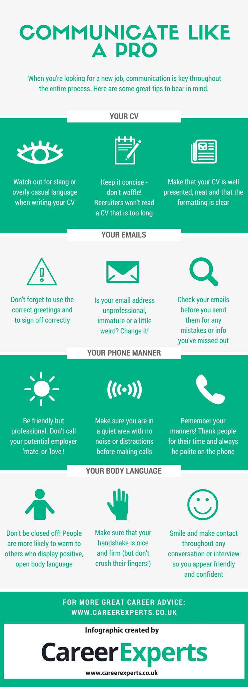 How to communicate like a pro infographic - job searching tips