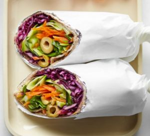 healthy lunch ideas for work veggie and olive wraps